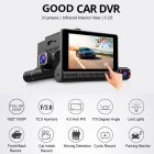 4 inch 3-Lens Car 170°Night Vision DVR Dash Cam Front + Rear and Inside Camera HD00150