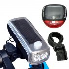 4LED Bike Cycling Front Light Solar Power USB Charging Lamp Rechargeable Horns Cycle Headlight Speaker Bicycle Light 4LED headlight speaker + solar taillight