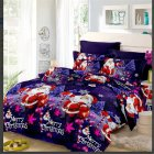 4Pcs/Set 3D Christmas Printed Duvet Cover Bed Sheet Pillowcase Set for Christmas New Year Holidays 2*2.3m