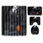 4Pcs/Set Halloween Series Toilet Cover Mat Non Slip Rug Bathroom Shower Curtain Set PJ19822-A025_180*180 shower curtain +45*75 three-piece floor mat set