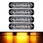 4pcs 6LED 12V-24V 18W Car Truck Emergency Warning Light Hazard Flash Strobe Light White + yellow