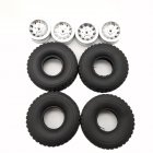 4pcs Mn Model Metal Clamping Pressure Tire Beadlock Wheel Rim & Rubber Tires Set For Wpl 1/16 Mn45 D90 91 96 99 99s 99a 1/12 Rc Car Model Silver_4PCS tire + wheel tire