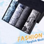4pcs/set Man Underwear Box-packed Fashion Breathable Colorful Boxers Wolf_XXXL