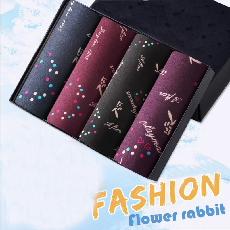 4pcs/set Man Underwear Box-packed Fashion Breathable Colorful Boxers colorful rabbits_XXXL