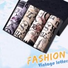 4pcs/set Man Underwear Box-packed Fashion Breathable Colorful Boxers retro letters_XXXL
