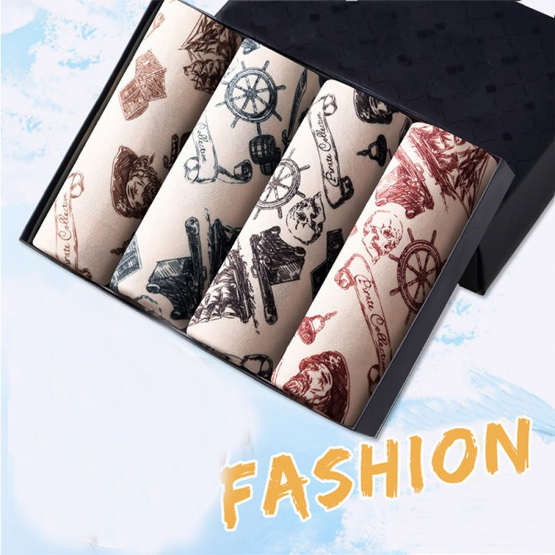 4pcs/set Men Stylish Printing Breathable Soft Boxers with U Convex Design Pirate Captain_XL
