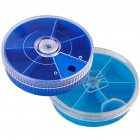 5/ 6 Grids Storage Box Transparent Rotating Mini Round Fishing Accessories Storage Box Dark blue_5 grid box