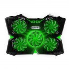 5 Fans Gaming Laptop Cooling Pad for 12  17  Laptops with LED Lights Dual USB Ports Adjustable Height at 1400 RPM green
