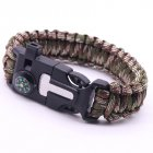 5-in-1 Multi-function Outdoor Seven-core Umbrella Rope Lanyard Camping Adventure Bracelet Army green camouflage