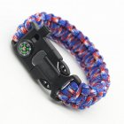 5 in 1 Multi function Outdoor Seven core Umbrella Rope Lanyard Camping Adventure Bracelet Red  blue and white camouflage
