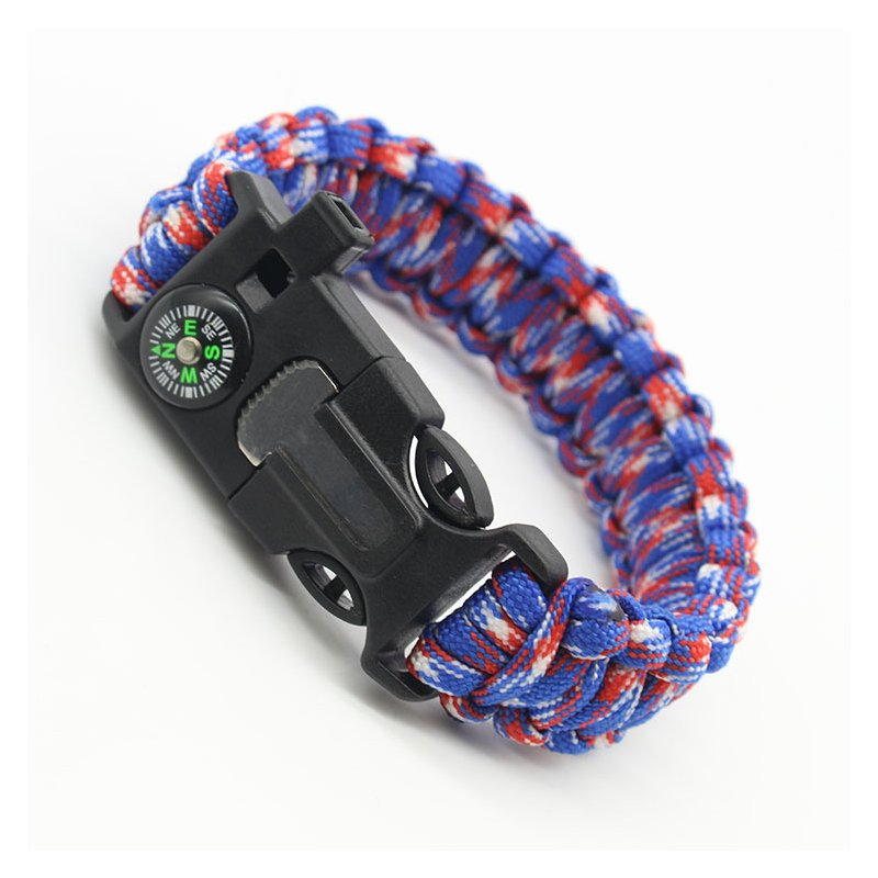 5-in-1 Multi-function Outdoor Seven-core Umbrella Rope Lanyard Camping Adventure Bracelet Red, blue and white camouflage