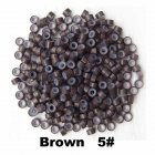 500pcs Silicone Micro Ring Aluminium Rings/Links/Beads Hair Extensions Tools for Human Hair brown
