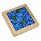 50Pcs 8CM Artificial Rose Fake Flower with Leaves for Home Wedding Party Decoration sapphire