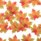 50Pcs/Pack Delicate Fall Artificial 8cm Maple Leaves for Weddings Events Decorating  Green orange