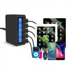 50W Quick Charge 5 Port USB Charger black EU
