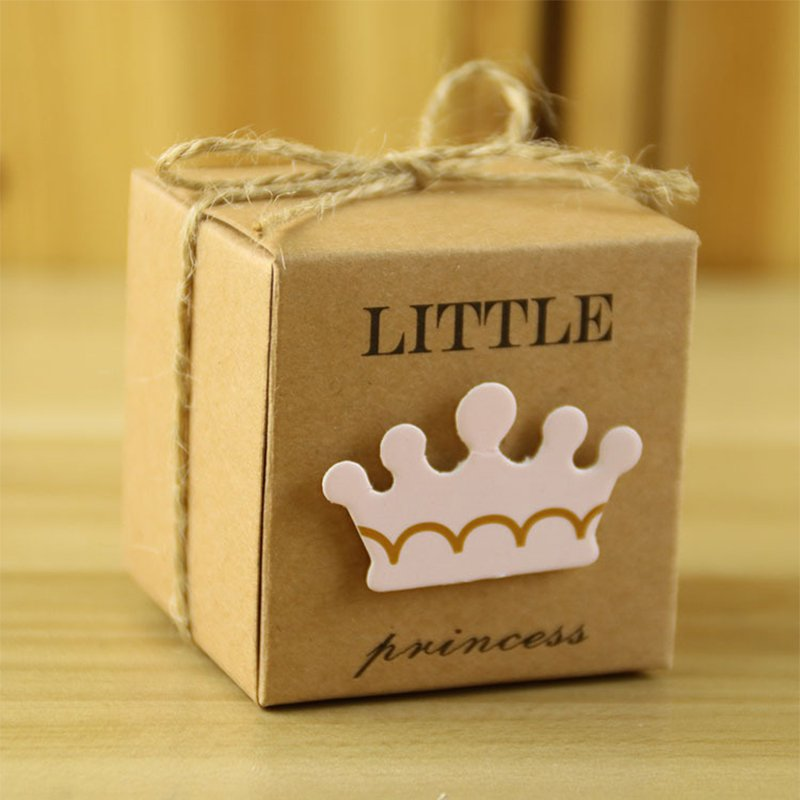 50pcs Baby Shower Candy Box Little Prince/Princess Crown Kraft Boxes Girl Boy Birthday Favors