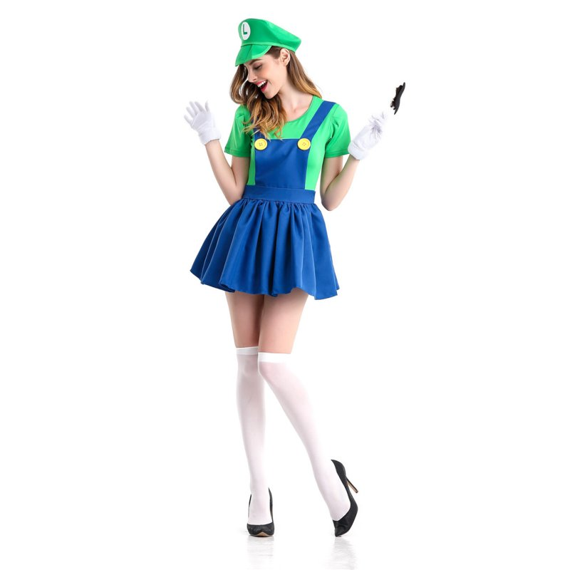 5PCS/Set Women Suspender Skirt Set Stylish Performance Costume for Halloween Fancy Dress Ball green_XL