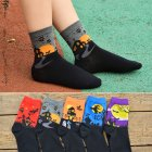 5Pairs Men Women Cartoon Pattern Mid-calf Length Socks for Halloween Men Women Lovers 5 colors