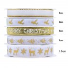 5Pcs/Set Christmas Printing Ribbon Gift Packing Decoration Diy Ribbons Roll Gold-D