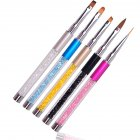 5Pcs/set Nail Liner Painting Brush Pen UV Gel Crystal Handle Manicure Nail Art Brush Tool