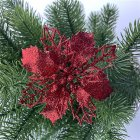 5pcs/set Christmas Decoration Christmas Celebration Hollow Out Glitter Powder Flower Wreath Garland Decor Pendant Red
