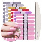 6 Colors Nail Stickers + Nail File Glitter Full Wrap Adhesive Decals DIY Nail Art Decoration