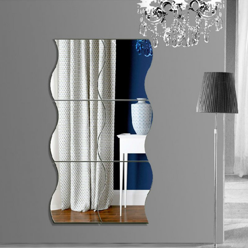 6PCS 3D Mirror-Surface Wall Stickers 10X12cm