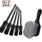 6PCS Wheel Tire Brush Soft Bristle Car Wash Brush Detailing Brush Car Cleaning Brush black