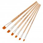 6Pcs/Set Paint Brushes Set Yellow Paintbrushes Nylon Hair Artist Watercolor Painting