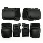 6Pcs/Set Sports Protector Set Hand Guard Knee Pad Elbow Pad for Roller Skating Sports black_L