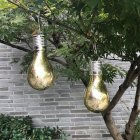 7.5x15CM Outdoor Solar Powered Copper Wire Bulb Hanging Lamp Yard Garden Decoration 5LED gold shell