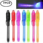 7 Pcs UV Light Pen Set Invisible Ink Pen