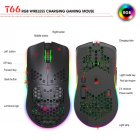 750mAh 2.4G Wireless Computer Mouse Rechargeable Rgb Hole Gaming Mouse black