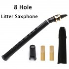 8-Hole Mini Saxophone Pocket Sax Portable Design With Carry Bag Woodwind Instrument for Amateurs and Professional Performers black_With metal clip