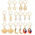 8 Pairs Of Men And Women Earrings Alloy Scallop Star Moon Shape Shell Earrings Set gold