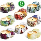 8Pcs/Set Soy Wax Scented Candles Scenery Pattern for Home Wedding Birthday Decoration 16.2 * 16.2 * 10.2cm