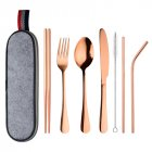 8Pcs/Set Stainless Steel Drinking Straw Knife Fork Spoon Chopsticks Cutlery Set for Travel Rose gold