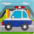 9 Slices Kids Wooden Vehicle Pattern Puzzles Jigsaw Baby Educational Learning Toy police car