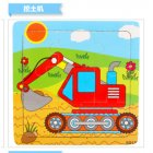 9 Slices Kids Wooden Vehicle Pattern Puzzles Jigsaw Baby Educational Learning Toy Excavator