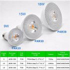 9W/15W/18W AC85-265V E27 LED PAR20 PAR30 PAR38 Bulb Not Dimmed warm light