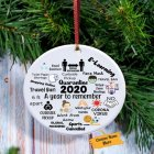 Acrylic Christmas Ornament 2020 Mask Theme Hanging Pendant for Party Decoration