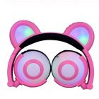 Adjustable Folding Cartoon Fancy Bear Shape Stereo Glow Music Bass Charging Ears Headset Pink