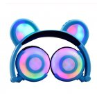 Adjustable Folding Cartoon Fancy Bear Shape Stereo Glow Music Bass Charging Ears Headset blue