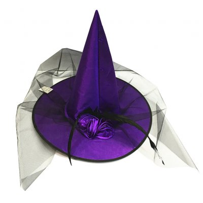 Adult Halloween Costume Ball Party Feather Rose Flower Tulle Veil Net Witch Cap Hat purple