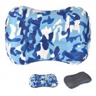 Air Pillow Outdoor Camping Indoor Inflatable Pillow Waist Pillow Camouflage blue