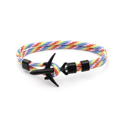 Airplane Anchor Bracelets Charm Rope 550 Paracord Bracelet Sport Hooks Jewelry Colored black airplane bracelet B12-0201