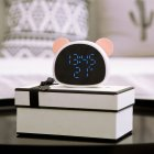 Alarm Clock Multi-Function Recorded Mirror Clock with Voice Control USB Night Light Panda Alarm Clock Pink white