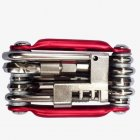Aluminium Alloy Bicycle Repair Tools Hex Spoke Wrench Screwdriver 10 In 1 Kit Set Road Bike Cycling Tools red