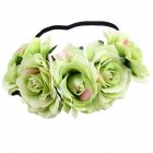 Artificial Flower Garland Rose Love Shape Wreath Headband Silk Rose Wedding Car Decor Colored green