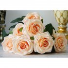 Artificial Flowers Rose Bouquet Fake Flowers Silk Plastic Artificial Roses 10 Heads Bridal Wedding Bouquet for Home Garden Party Wedding Decoration  champagne